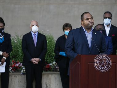 Dallas Mayor Eric Johnson speaks during a memorial  for George Floyd at City Hall in June.