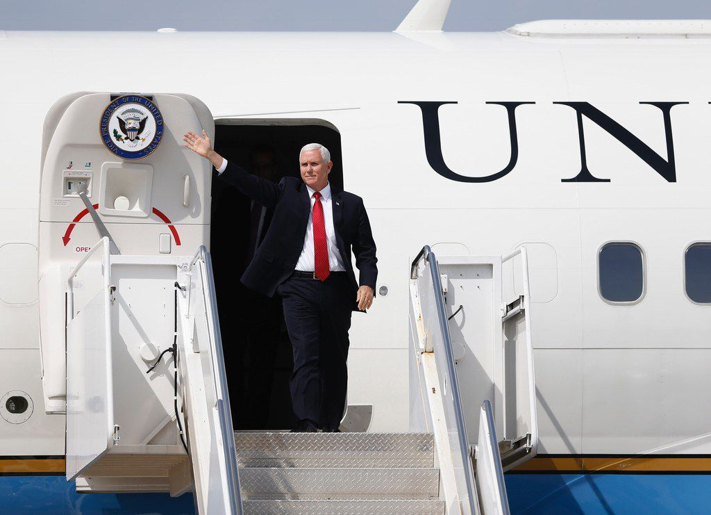 Vice President Mike Pence arrives at Dallas Love Field to speak at the 2018 Southern Baptist Convention meeting at the Kay Bailey Hutchison Dallas Convention Center in Dallas, on Wednesday, June 13, 2018.