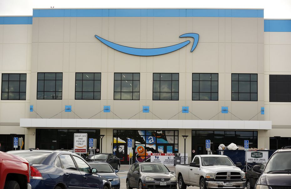 An exterior view of the Amazon fulfillment center on Chalk Hill Road in Dallas. The facility opened last year.