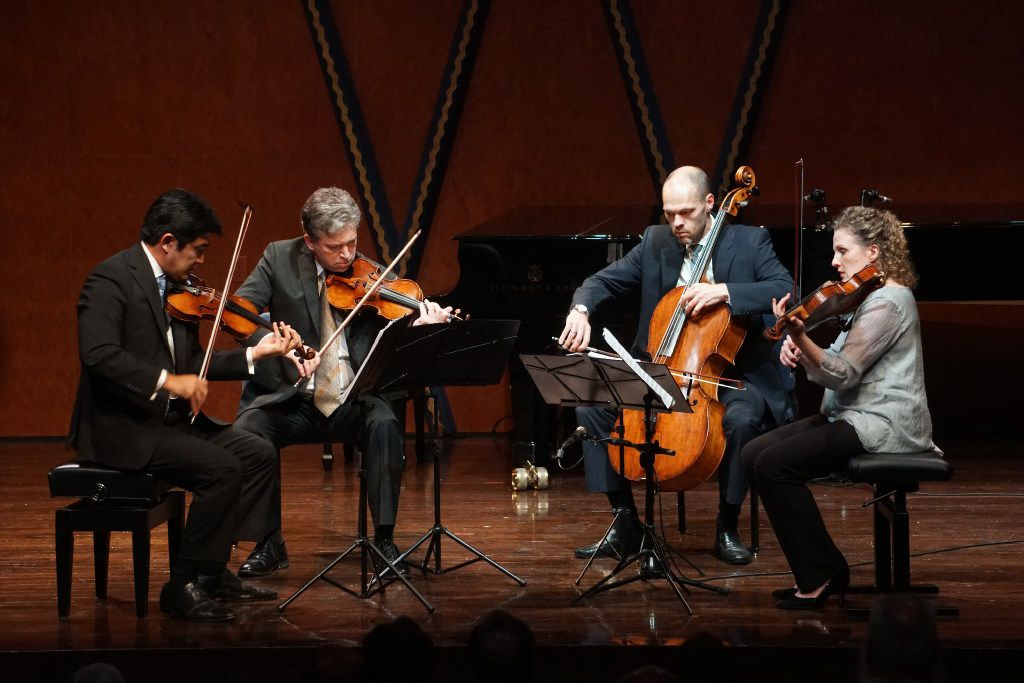 "Violinists Jun Iwasaki and Curt Thompson, cellist Brant Taylor and violist Kirsten Docter perform Kevin Puts' ""Credo"" in the Mimir Chamber Music Festival at PepsiCo Recital Hall on the campus of Texas Christian University in Fort Worth on July 7, 2017."