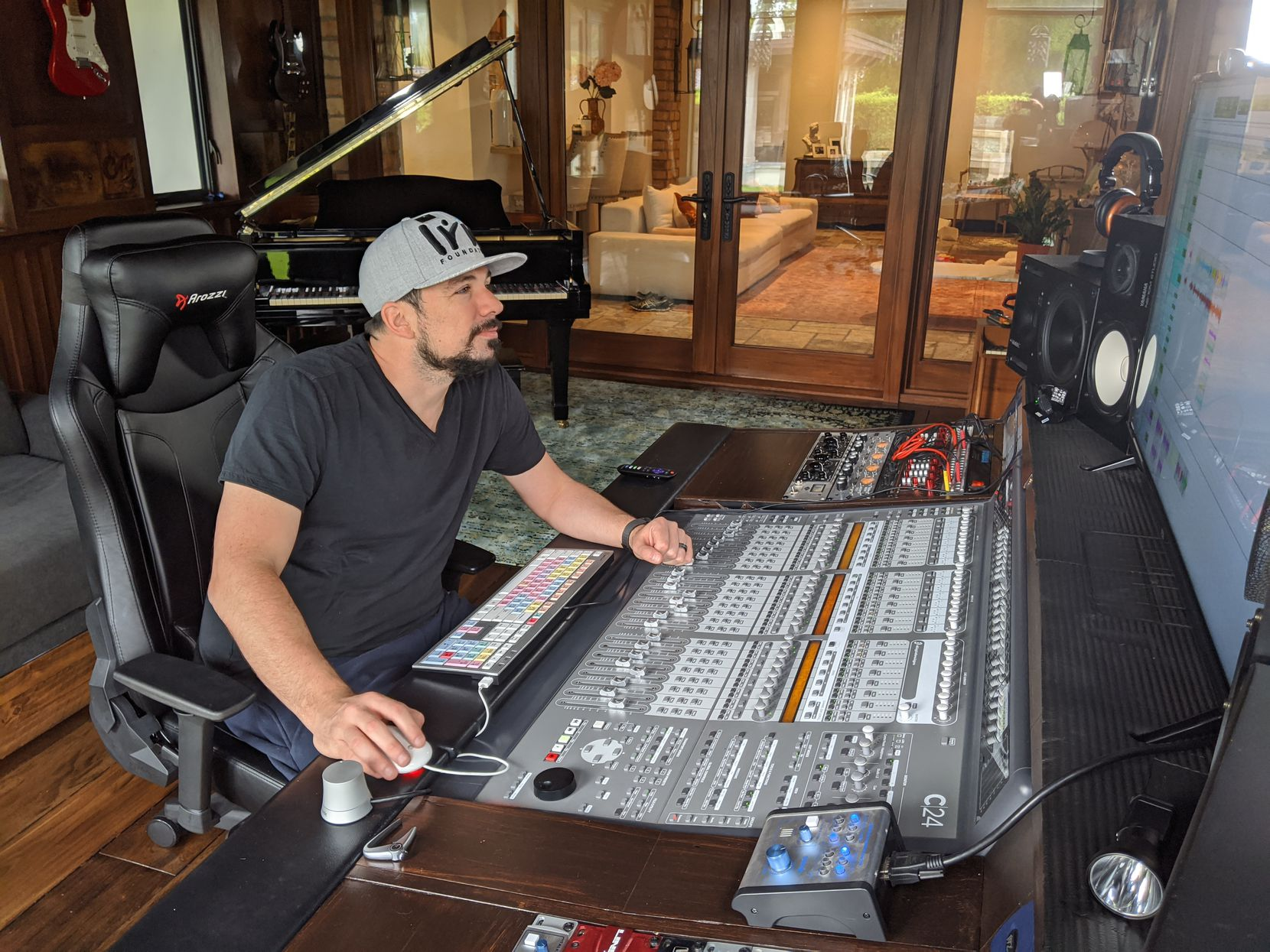 "Take a look at the recording studio inside Shama Hyder and Patrick Barnhill's Miami home, featured in HGTV's ""Self-Made Mansions""."