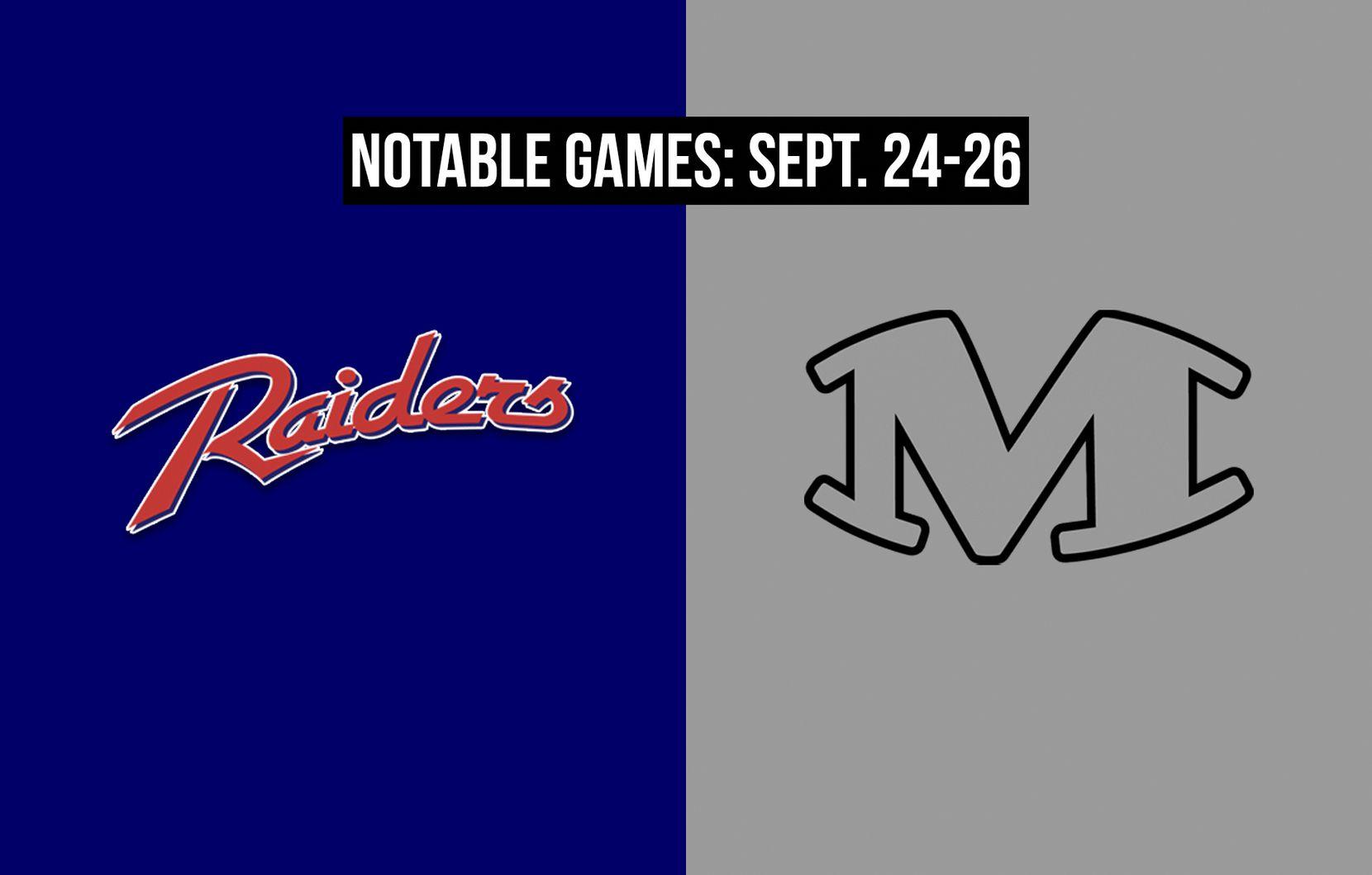 Notable games for the week of Sept. 24-26 of the 2020 season: Denton Ryan vs. Arlington Martin.