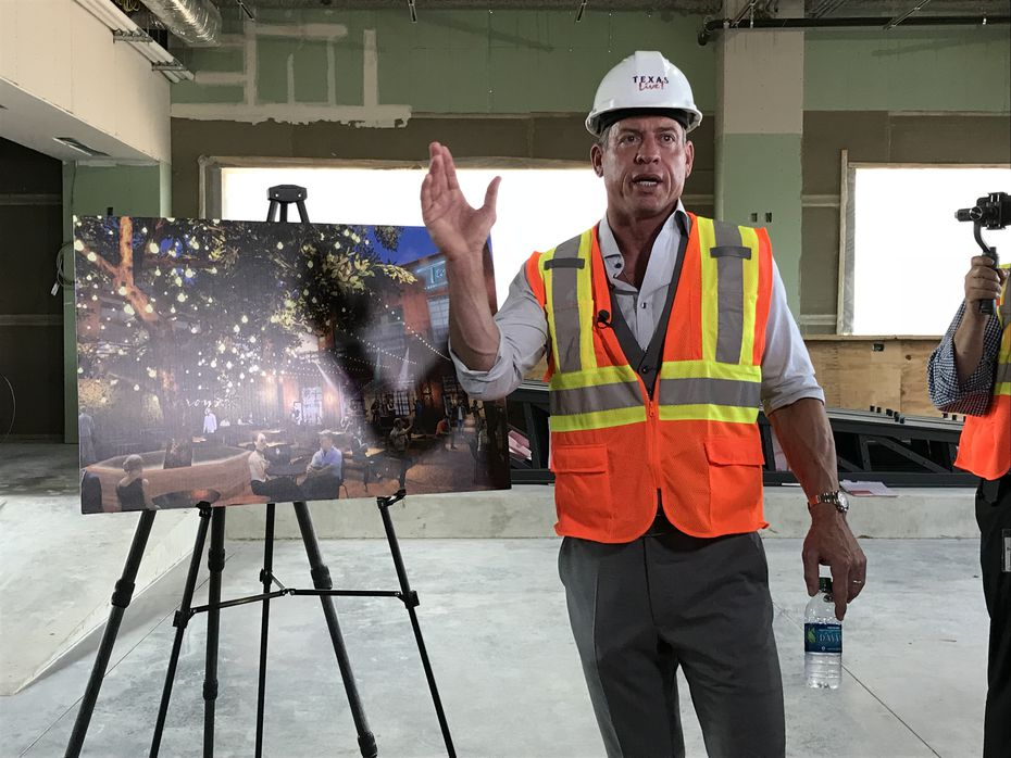 Troy Aikman describes his new bar and restaurant, Troy's, which is opening this summer at Texas Live! in Arlington.