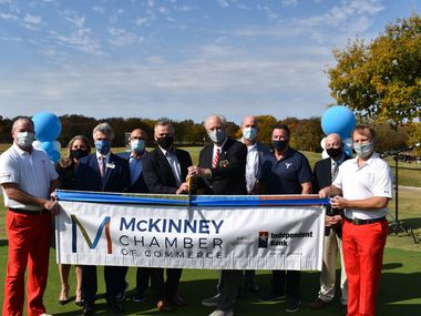 The The McKinney Chamber of Commerce and the Salesmanship Club of Dallas held a ribbon cutting Tuesday celebrating the McKinney location for the AT&T Byron Nelson tournament.