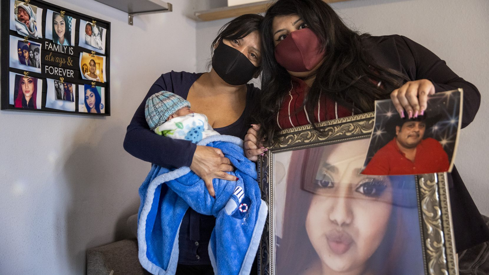 Lucy Palacios (right), 23, holds photos of her deceased sister, Nely, and deceased father, Miguel, while posing for a portrait with her mother, Miriam, and her 2-month-old nephew, Isaiah, at their home in East Dallas on March 2, 2021. Miriam's 22-year-old daughter and Lucy's sister, Nely, died from complications of COVID-19 shortly after her son was born through an emergency C-section when Nely was intubated. Her father, Miguel, also died shortly after being hospitalized for COVID-19.