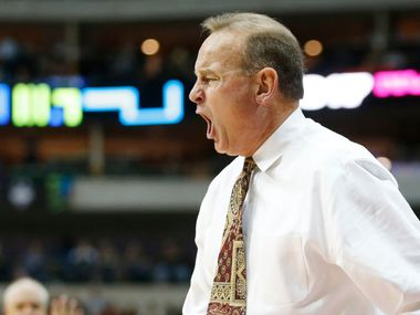 Former Mississippi State Lady Bulldogs head coach Vic Schaefer reacts to a foul called on one of his players in a game against the Connecticut Huskies during the first half of NCAA Women's Final Four semifinal game at American Airlines Center in Dallas on Friday, March 31, 2017.