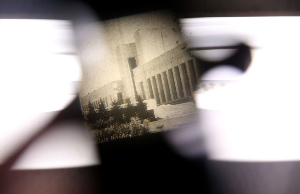 A photo of the Hall of State as seen through a vintage viewfinder.