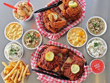 In addition to selling Nashville hot chicken, Hattie B's serves Southern sides like pimento mac and cheese, baked beans, cole slaw, and black-eyed pea salad.