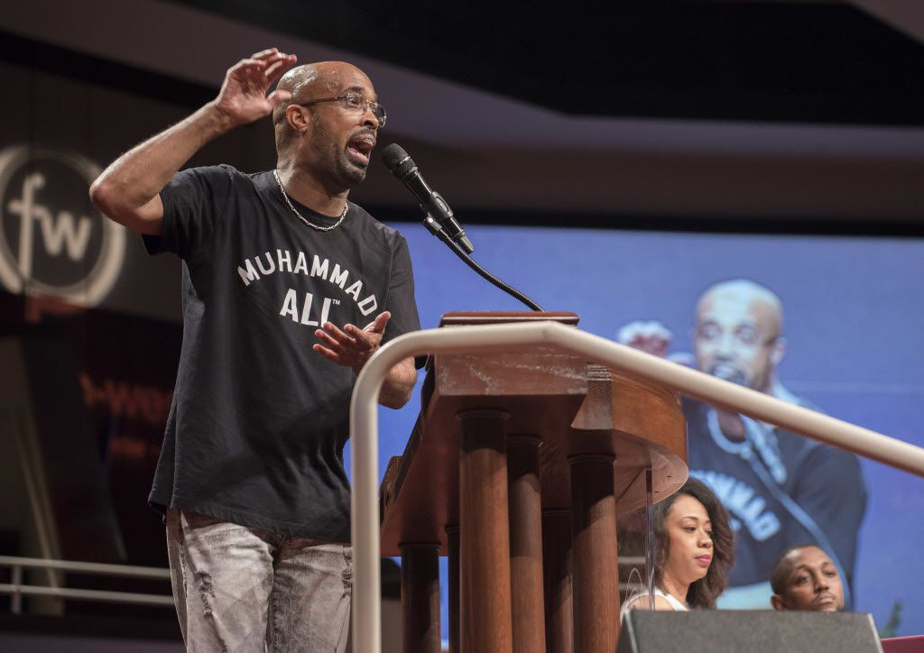 Dr. Frederick Haynes III, senior pastor of Friendship-West Baptist Church, speaks during a conversation about race and policing in Dallas at the church on Sunday, July 10, 2016. (Rex C. Curry/The Dallas Morning News via AP)