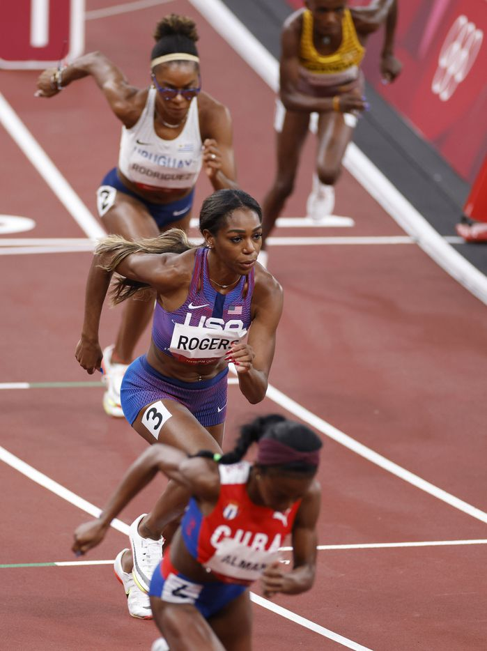 USA's Raevyn Rogers competes in the women's 800 meter semifinal race during the postponed 2020 Tokyo Olympics at Olympic Stadium, on Saturday, July 31, 2021, in Tokyo, Japan. (Vernon Bryant/The Dallas Morning News)