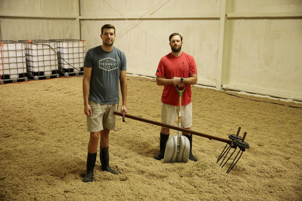 TexMalt co-founders Austin Schumacher (left) and Chase Leftwich started their craft malt house in 2015. TexMalt works with local farmers to grow grains used in whiskey distilling and beer brewing.
