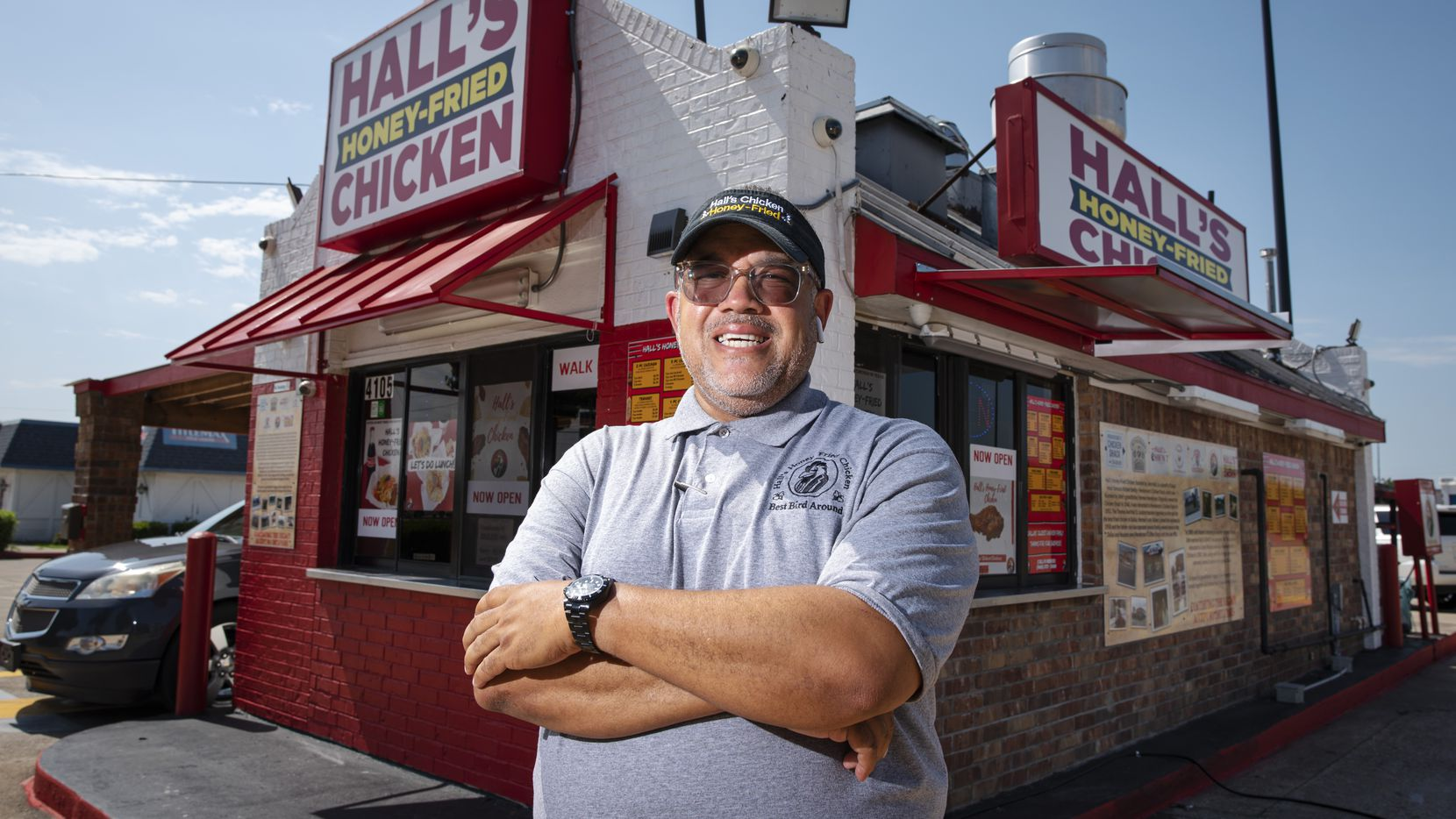 Owner John Hall outside of his reopened Hall's Honey Fried Chicken on West Camp Wisdom Road in Dallas