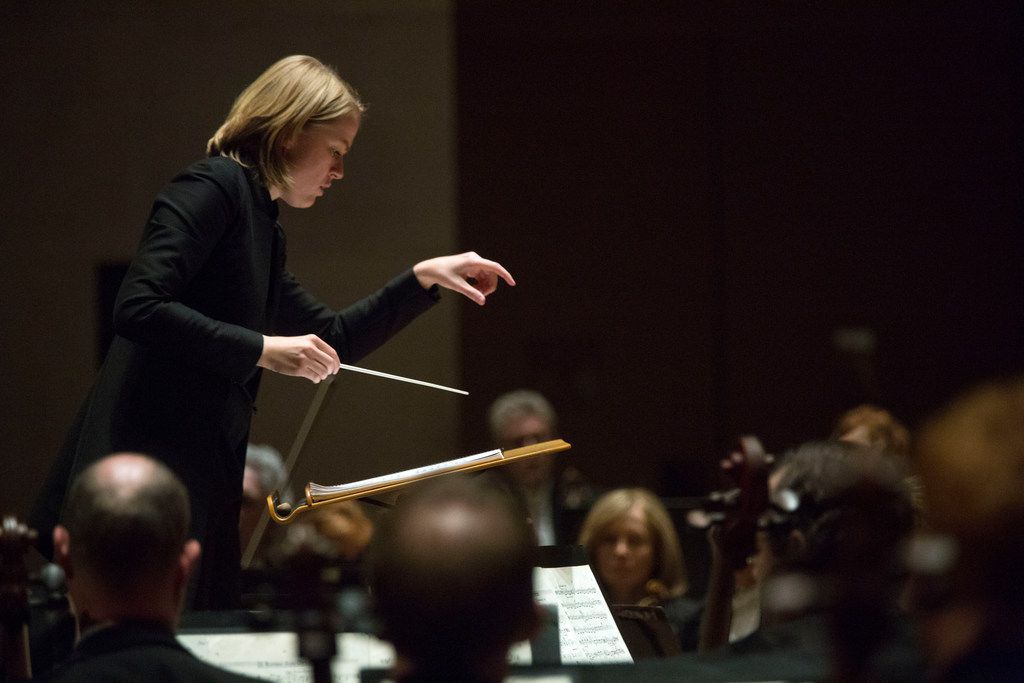 Assistant conductor Ruth Reinhardt leads the Dallas Symphony Orchestra at the Meyerson Symphony Center on Thursday.