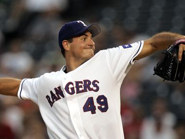 Texas Rangers pitcher (#49) Chris Young pitches against the Seattle Mariners during the 4th inning at Ameriquest Field in Arlington on Tuesday, August 23, 2005.