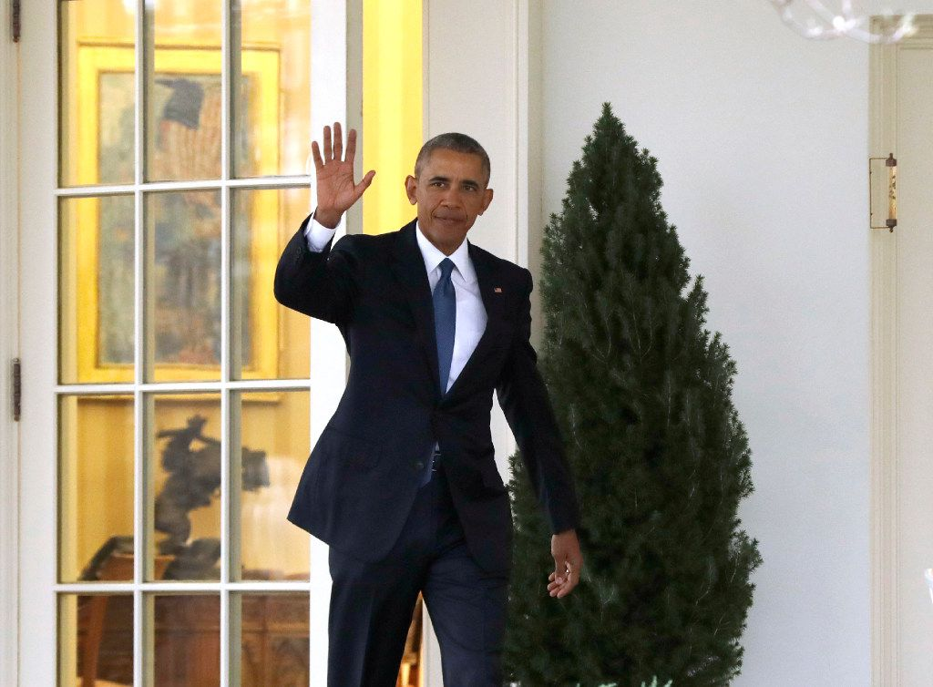 President Barack Obama waves as he leaves the Oval Office of the White House in Washington, Friday, Jan. 20, 2017, before the start of presidential inaugural festivities for the incoming 45th President of the United States Donald Trump.