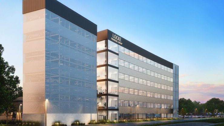 The six-story office project is southwest of downtown Fort Worth.
