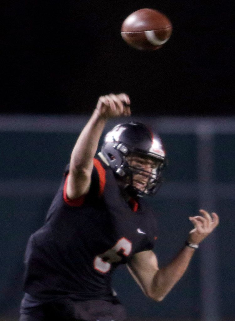 Lake Highlands quarterback Mitch Coulson (6) launches a pass downfield during first half action against Richardson. The two teams played their District 8-6A football game at Wildcat-Ram Stadium on the campus of Lake Highlands High School in Dallas on November 8, 2019. (Steve Hamm/ Special Contributor)