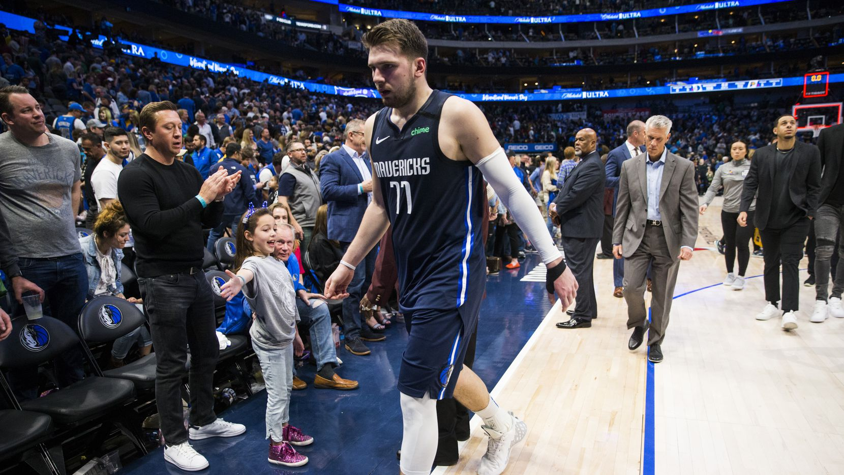 FILE - Mavericks guard Luka Doncic (77) leaves the court after a game against the Pacers on Sunday, March 8, 2020, at American Airlines Center in Dallas.