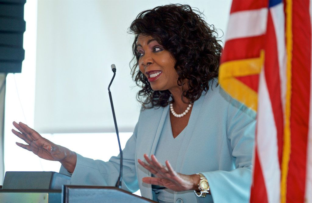 Dallas County District Attorney Faith Johnson thanks police for their hard work and sacrifices last July during a Mothers Against Drunk Driving luncheon at the La Cima Club in Las Colinas.