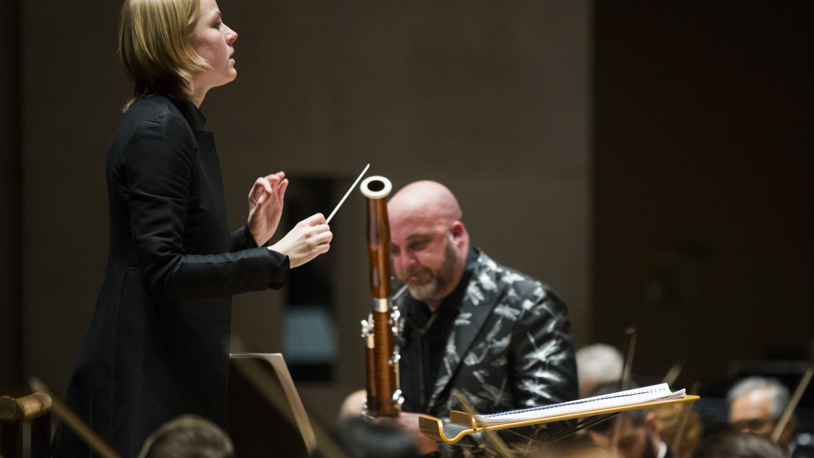 """Bassoon soloist Ted Soluri performs """"Ghost of the White Deer,"""" composed by Jerod Tate, with Ruth Reinhardt conducting the Dallas Symphony Orchestra on Feb. 13, 2020 at the Meyerson Symphony Center in Dallas."""