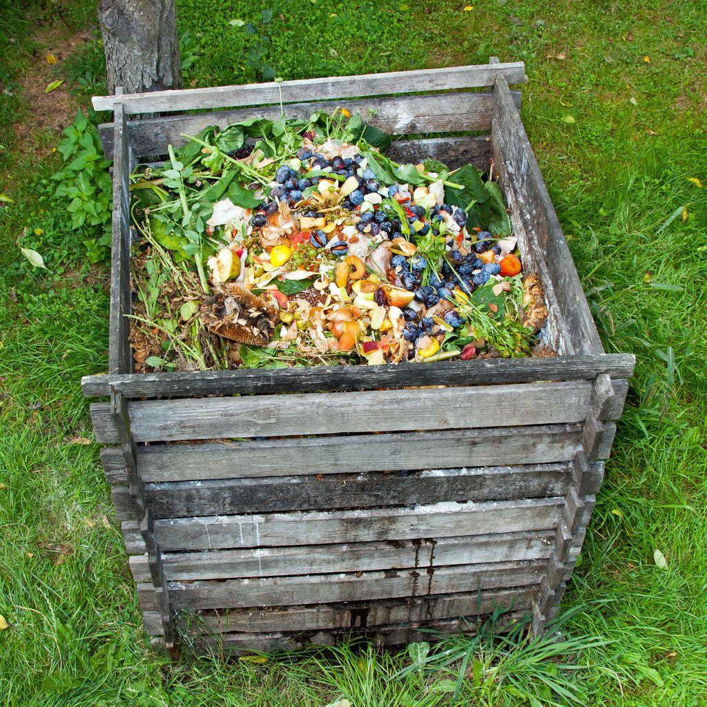 Compost bin in the garden.
