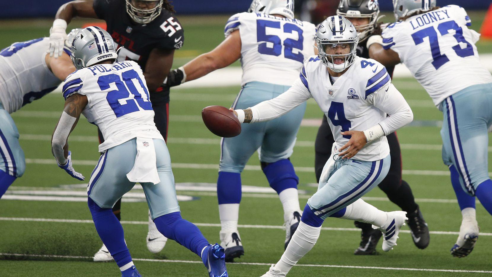 El mariscal de los Dallas Cowboys, Dak PrescottDallas (4), comandó uno de los regresos más espectaculares en la historia de la franquicia al vencer porr marcador de 40-39 a los Falcons de Atlanta, el 20 de septiembre de 2020 en el AT&T Stadium de Arlington.