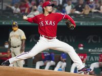 Texas Rangers pitcher Kohei Arihara delivers during the second inning against the San Diego Padres at Globe Life Field on Friday, April 9, 2021.
