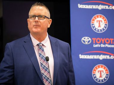 Texas Rangers Senior Director of Amateur Scouting Kip Fagg addresses the media as the team announced the signings of several of the club's draft picks from last week's MLB draft at Globe Life Park on Tuesday, June 12, 2018, in Arlington.