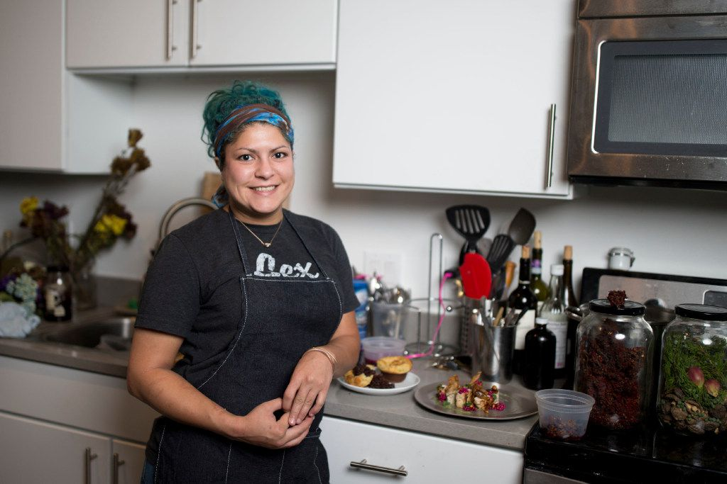 Chef Misti Norris in her Dallas kitchen, with dishes she whipped up recently from various foraged ingredients.
