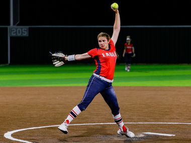 Allen's Alexis Telford (10) pitches during the seventh inning of a District 5-6A game against Denton Guyer at Denton Guyer High School in Denton on Tuesday, Apr. 9, 2021.