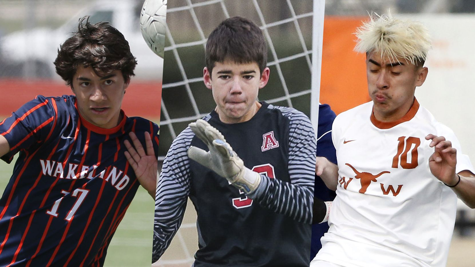 From left to right: Frisco Wakeland's Marc Borbonus, Allen's Jackson Leavitt and W.T. White's Byron Aguilar.