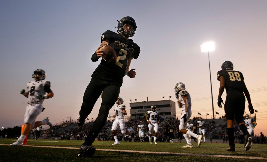 The Colony quarterback Mikey Harrington II scrambled for an easy second quarter touchdown run against Frisco Reedy at Tommy Briggs Cougar Stadium in The Colony, Texas, Friday, September 6, 2019.
