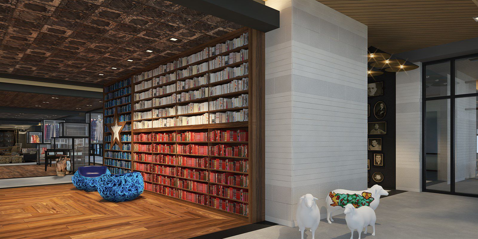 Rendering of the lobby at The George hotel in College Station.