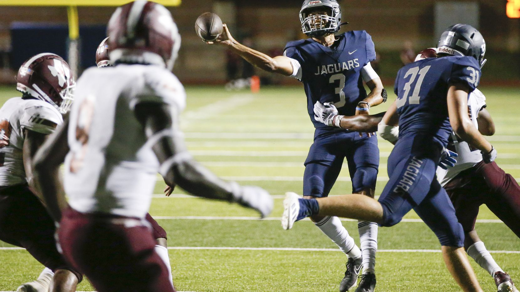 Flower Mound senior quarterback Nick Evers (3) throws during the second half of a high school football game against Mesquite at Flower Mound High School, Friday, August 27, 2021.