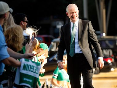 Dallas Stars general manager Jim Nill was welcomed by fans on the green carpet at the American Airlines Center in Dallas, Thursday, October 4, 2018. The Stars are facing the  Arizona Coyotes in the season opening game.