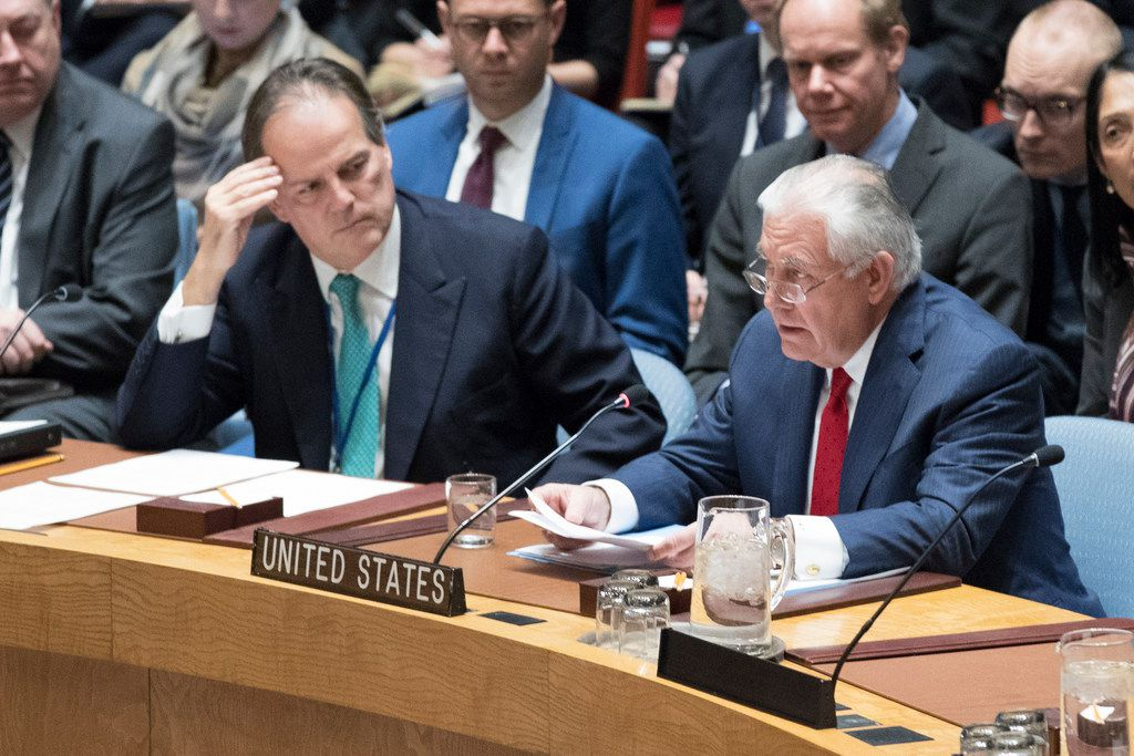 Secretary of State Rex Tillerson talks about the situation in North Korea during a Dec. 15 Security Council meeting at United Nations headquarters.