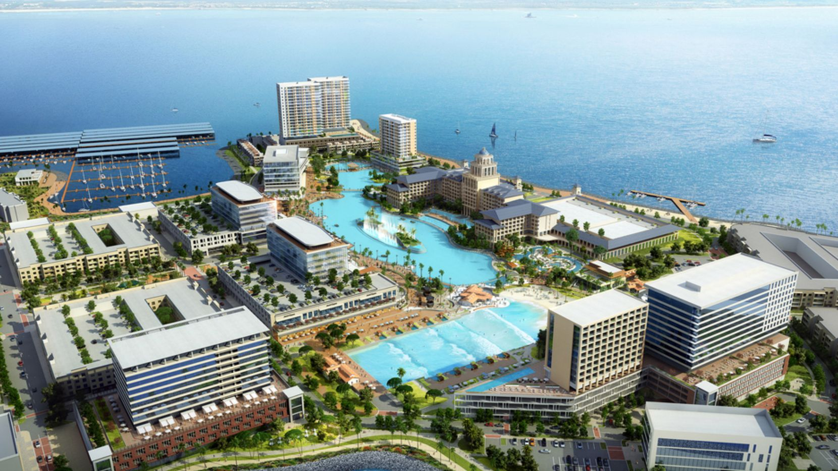 The lakeside section of Bayside has been renamed Sapphire Bay and is scheduled to open the first phase in 2023.
