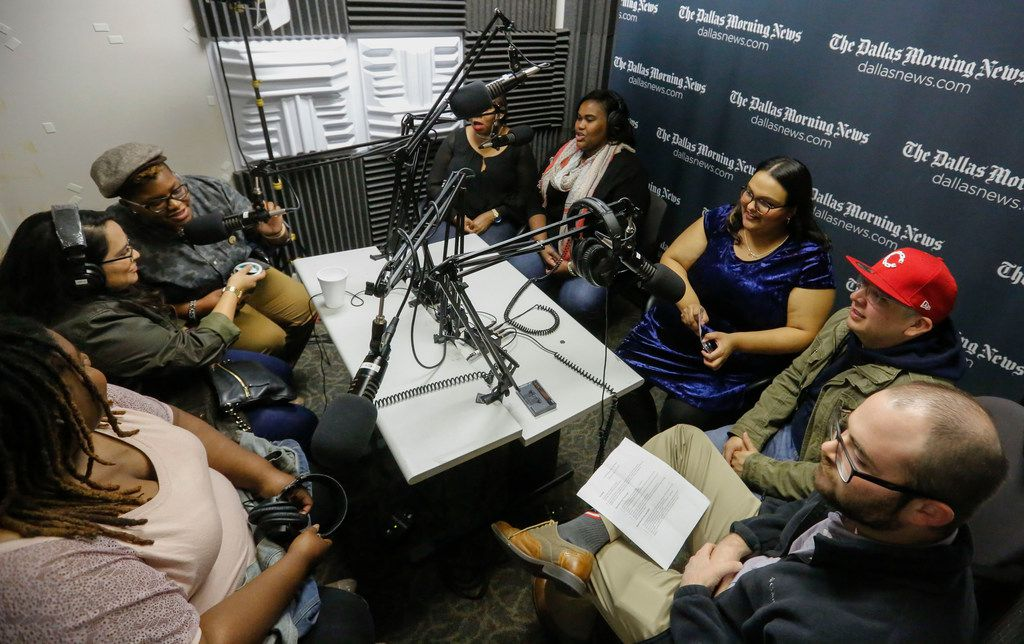 Clockwise from bottom left: Keisha Blocker with Don't Do BS Radio, Cynthia Garcia with Chingonas y Cabronas, Brandie Crank, with Don't Do BS Radio, Daphne Turner and Stephanie Milburn, both with Don't Do BS Radio, and Eva Arreguin and Rafael Tamayo with De Colores Radio, and writer Tyler Hicks take turns introducing themselves as they recorded a podcast in The Dallas Morning News podcast studio on Nov. 9, 2017.