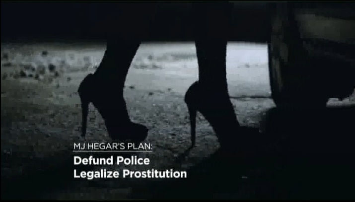 A frame grab from a 30-second Cornyn campaign spot shows a woman in high heels, presumably a prostitute, to illustrate the disputed allegation that Democrat MJ Hegar wants to legalize sex-for-pay.