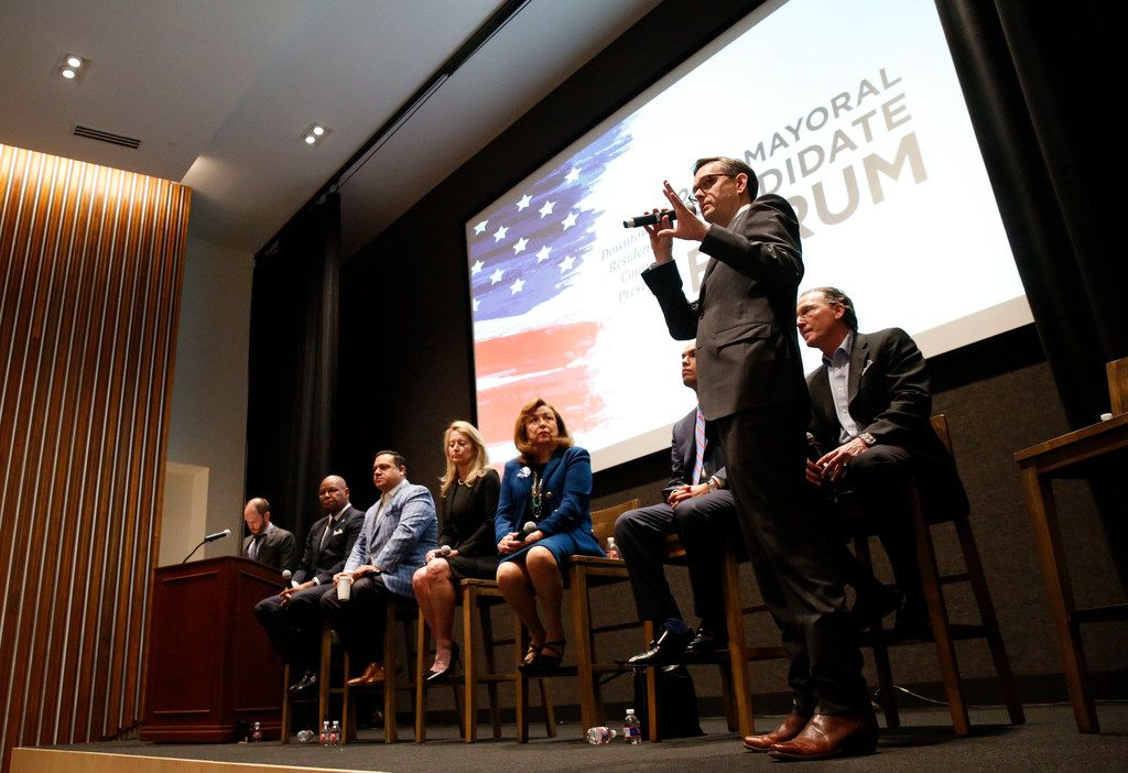 Dallas mayoral candidate Scott Griggs speaks during the Downtown Residents Council mayoral forum at The Dallas Morning News on Thursday, April 11, 2019.