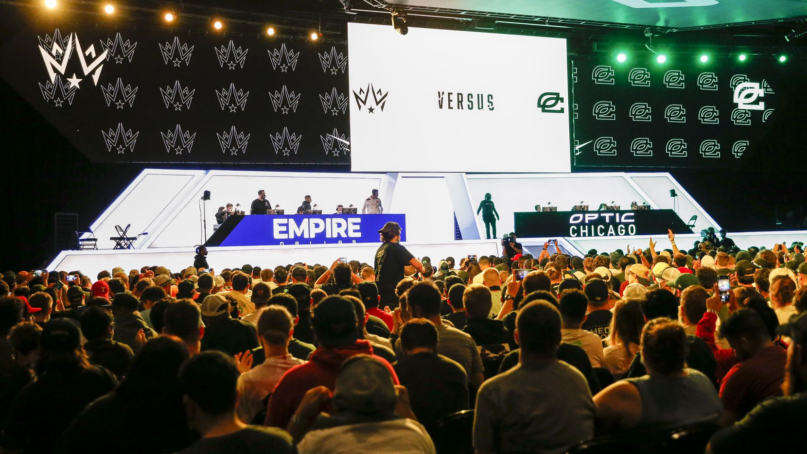 Fans wait for a match between Dallas Empire and Chicago OpTic to start during the Call of Duty League Major V tournament at Esports Stadium Arlington on Sunday, Aug. 1, 2021, in Arlington. (Elias Valverde II/The Dallas Morning News)