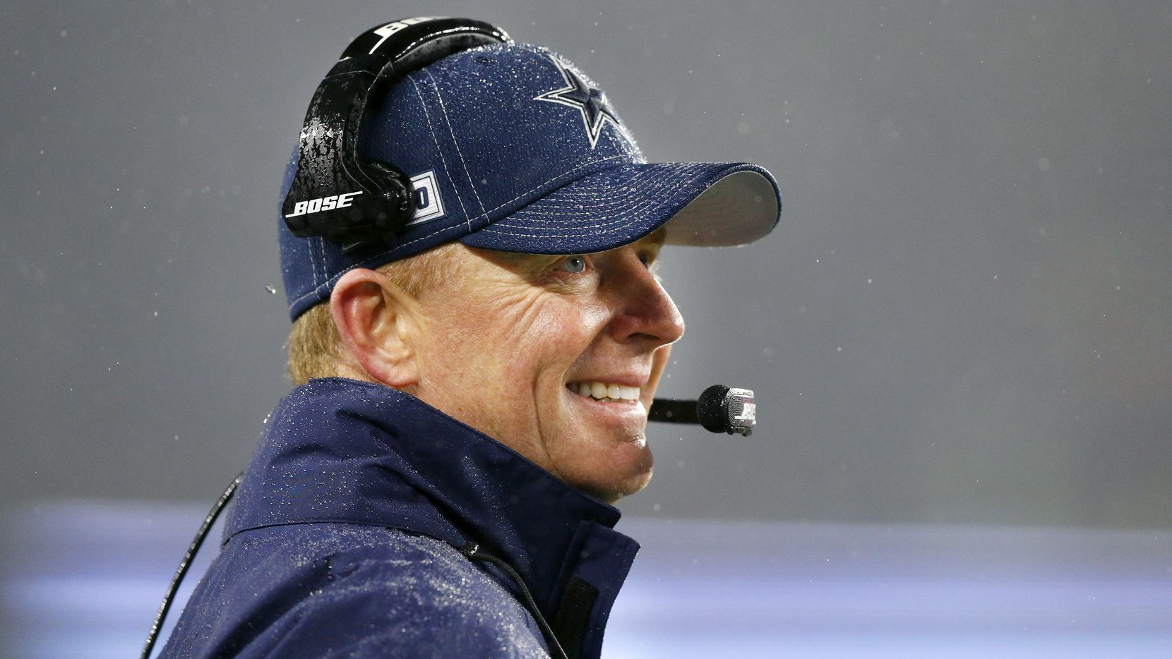 Dallas Cowboys head coach Jason Garrett watches his offense in a gusty rain at Gillette Stadium in Foxborough, Massachusetts Sunday, November 24, 2019. The Cowboys are icing the New England Patriots.