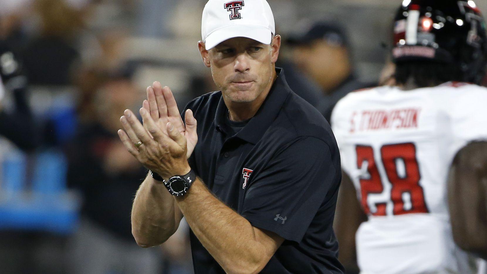 Texas Tech head coach Matt Wells prior to an NCAA college football game against Arizona, Saturday, Sept. 14, 2019, in Tucson, Ariz. (AP Photo/Ralph Freso)