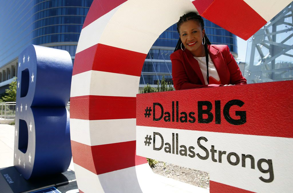 Noelle LeVeaux, chief marketing officer for the Dallas Convention & Visitors Bureau, along with her co-workers moved to add the label #DallasStrong to the B and G letters around town after the police ambush.