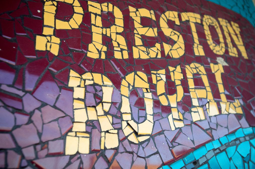 A mosaic advertising the Preston Royal shopping center tucked away on a westward-facing storefront in the northeast corner of the shopping center is pictured on Wednesday, March 8, 2017 in Dallas. (Jeffrey McWhorter/Special Contributor)