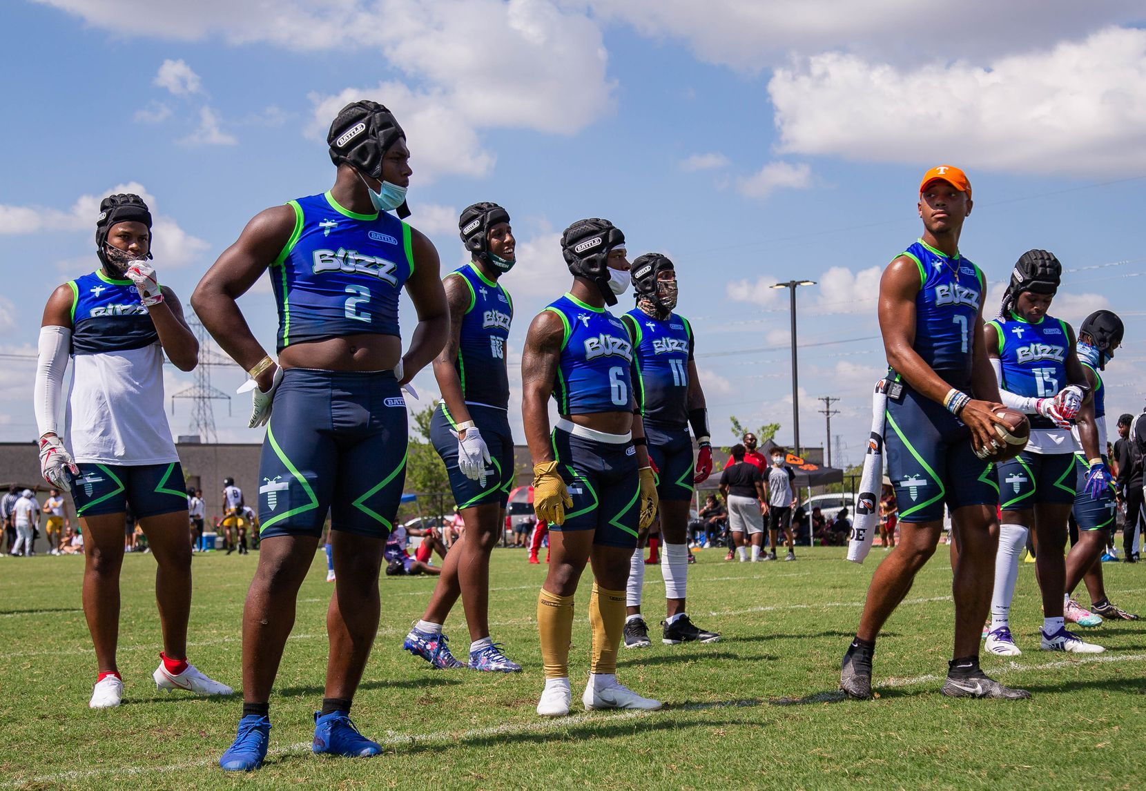 The offense team for Buzz Gang waits to play against Team Grind Red during the Pylon 7-on-7 tournament at the A+D1 field on Aug. 1, 2020 in Carrollton. Grind tied against Buzz, 14-14.