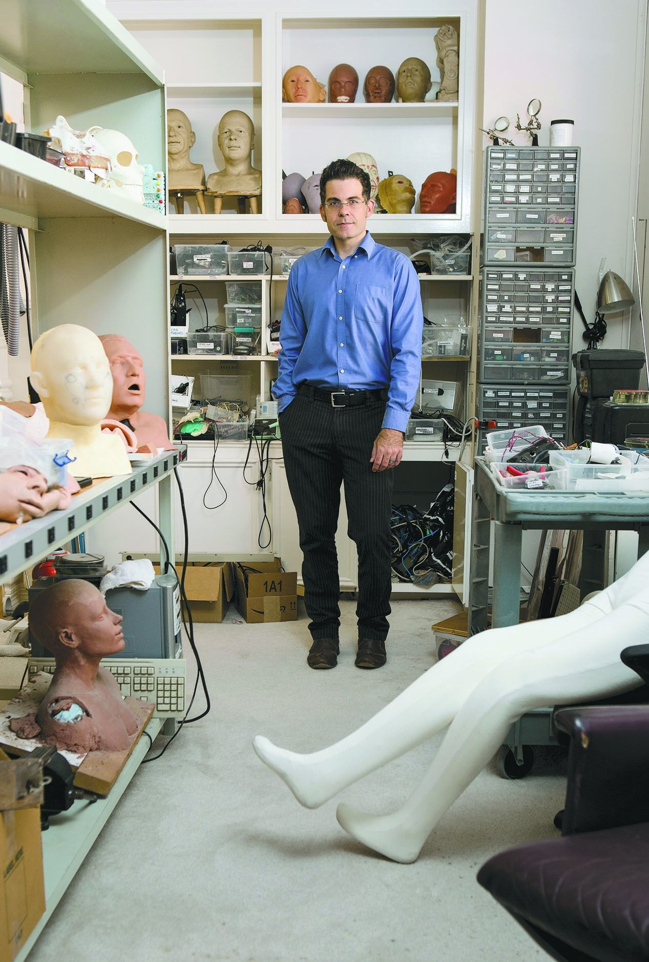 David Hanson shown in 2015 in his North Texas workspace.