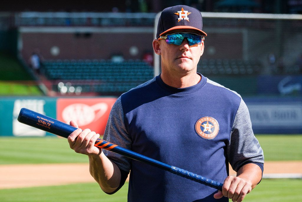 Houston Astros manager AJ Hinch watches batting practice before a game against the Texas Rangers at Globe Life Park on Tuesday, April 2, 2019, in Arlington. (Smiley N. Pool/The Dallas Morning News)