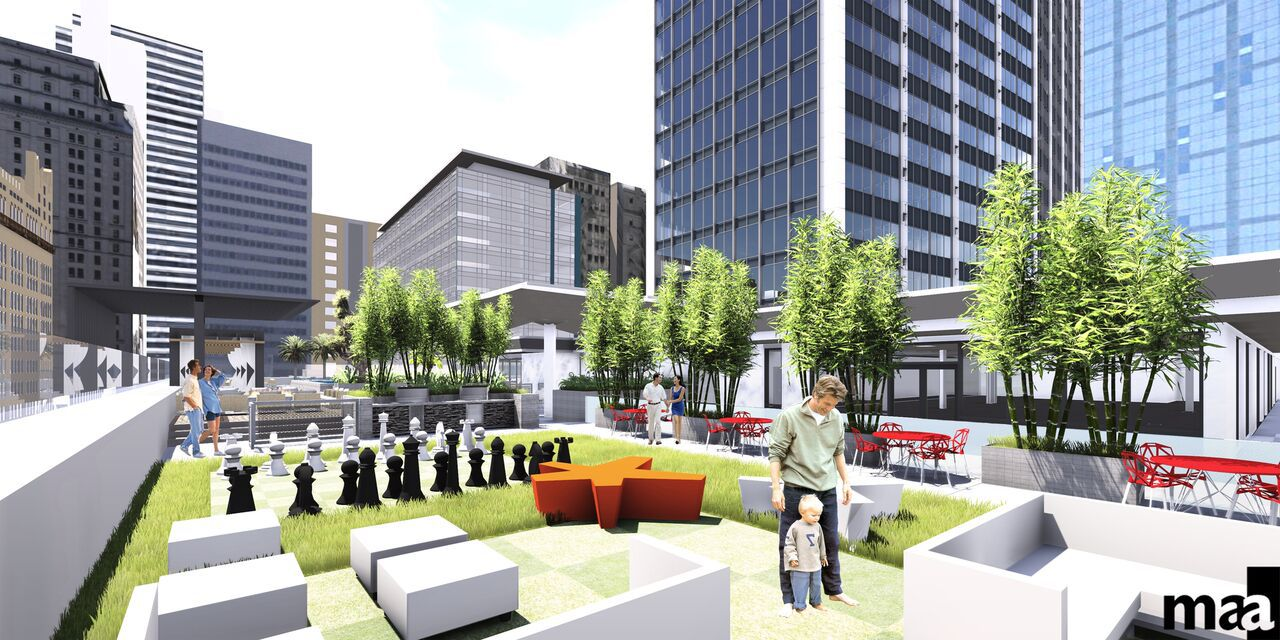 Redevelopment plans for the 52-story former First National Bank tower at 1401 Elm St. in downtown Dallas include a 10-floor deck with outdoor green space.