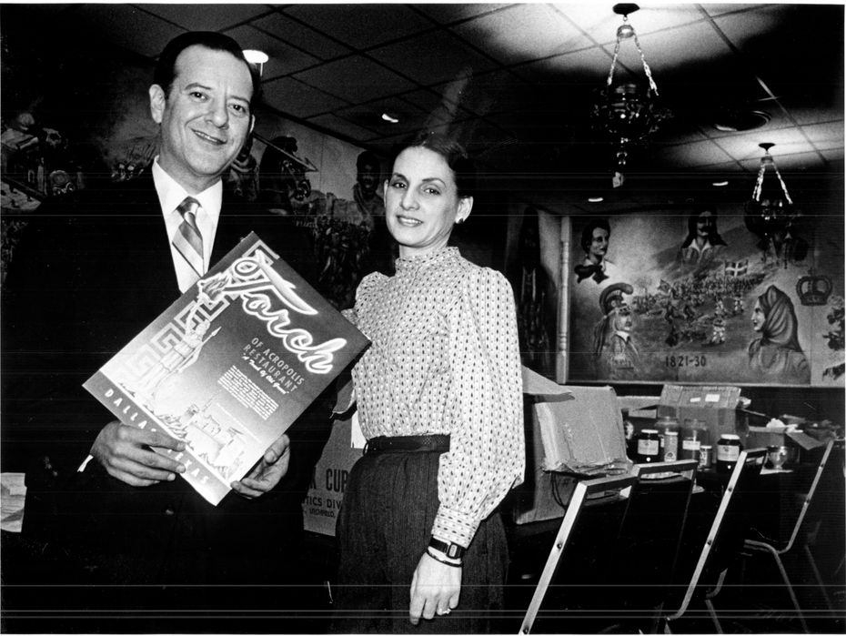 """Chris and Anastasia Semos stand in their soon-to-be-closed restaurant."" Published in the paper on Feb. 9, 1985."